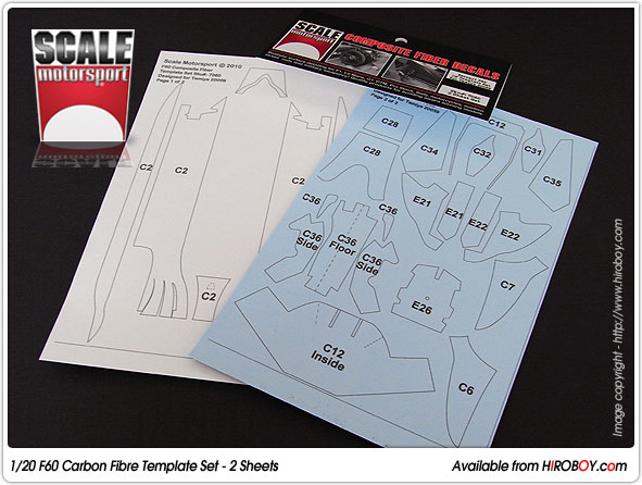 120 Ferrari F60 2 Sheet Composite Fiber Decal Template Set - #7060