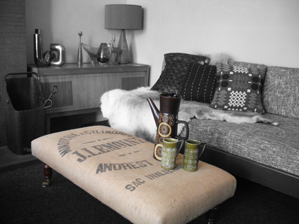 vintage footstool reupholstered by Eclectic Chair using recycled coffee sack