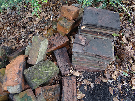 vintage bricks and slates on our allotment