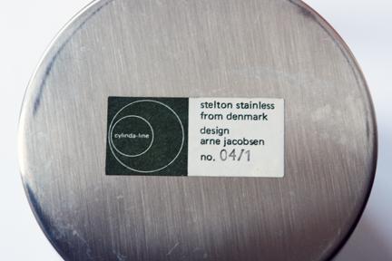 label on the base of vintage 1960s Cylinda-line stainless steel sugar bowl desingned by Arne Jacobsen for Danish manufacturer, Stelton