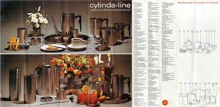 original brochure for Cylinda-line range designed in the 1960s by Arne Jacobsen for Danish manufacturer Stelton