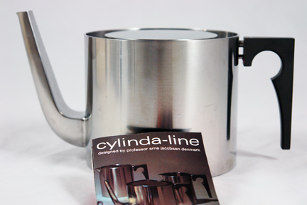 Arne Jacobsen Cylinda Line stainless steel tea set designed for Stelton