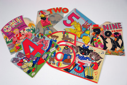 selection of vintage 1950s/60s children's birthday cards