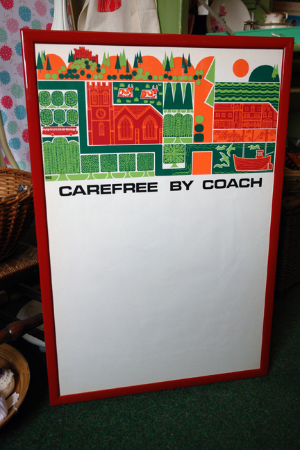 vintage framed &quot;carefree by coach&quot; travel poster designed by Biggs