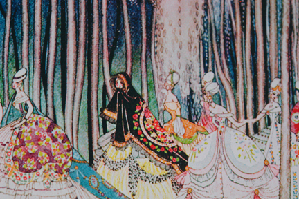 illustration for the Twelve Dancing Princesses story