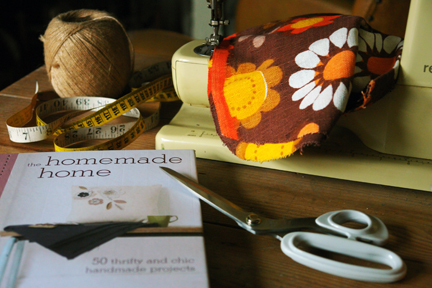 Homemade Home book with vintage sewing machine and fabric