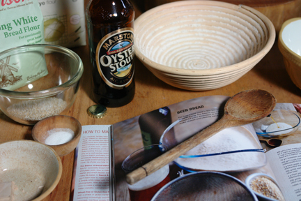 "ingredients gathered together to make the beer bread from the ""How to Make Bread"" cookery book"