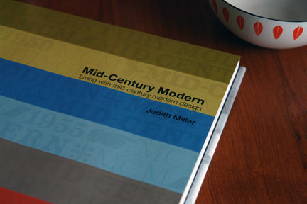 "title page of ""Mid-Century Modern"" by Judith Miller with a small Cathrineholm enamelware Lotus bowl"