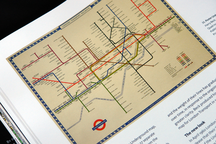 "page from ""London Underground Maps - Art, Design and Cartography"" by Louise Dobbin showing Harry Beck's 1948 version of the Tube map"