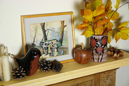 vintage Briglin Pottery vase as part of an autumn-inspired mantlepiece