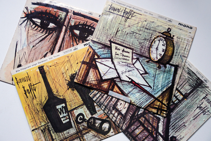 pile of Ella Fitzgerald LP covers illustrated by Bernard Buffet