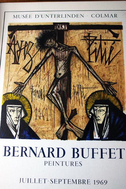 detail from vintage 1968 Bernard Buffet exhibition poster