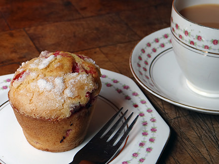 Redcurrant muffin with a cup of tea | H is for Home