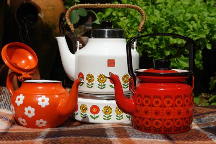 vintage enamel kettle, coffee pot and teapot