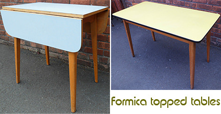 two vintage Formica topped tables for sale by & in support of Wesley Community Furniture