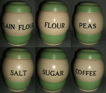 Collection of 1930s T G Green Streamline pottery kitchen storage jars