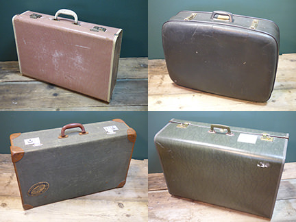 collection of vintage suitcases being sold on eBay for Charity by Isabel Hospice