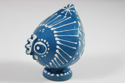 small blue slipware pottery figure of a chicken