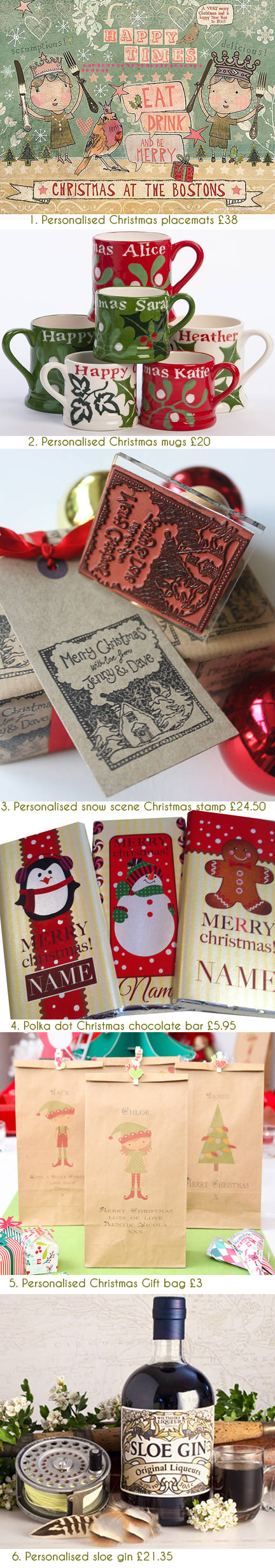 selection of festive, personalised Christmas items available on the notonthehighstreet.com website