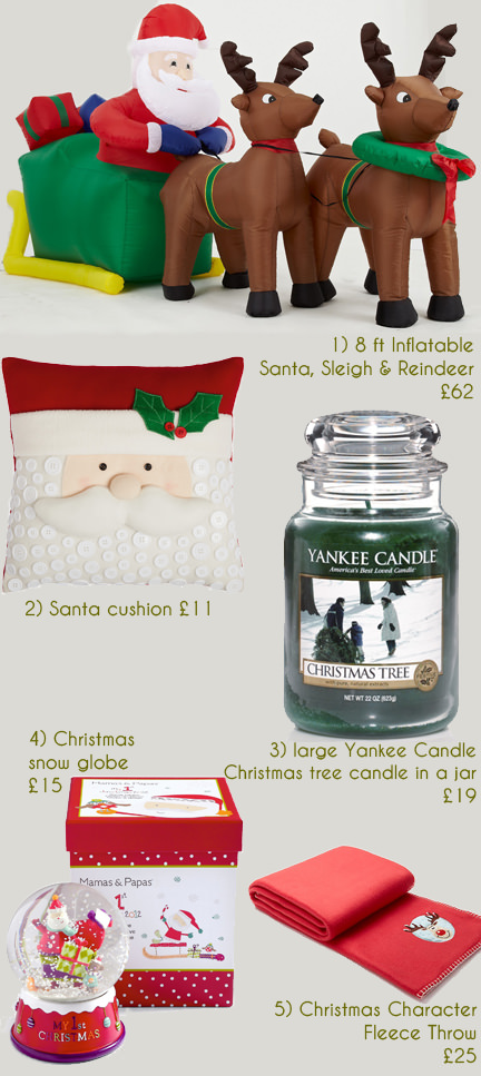 selection of festive Christmas items available from the Very website