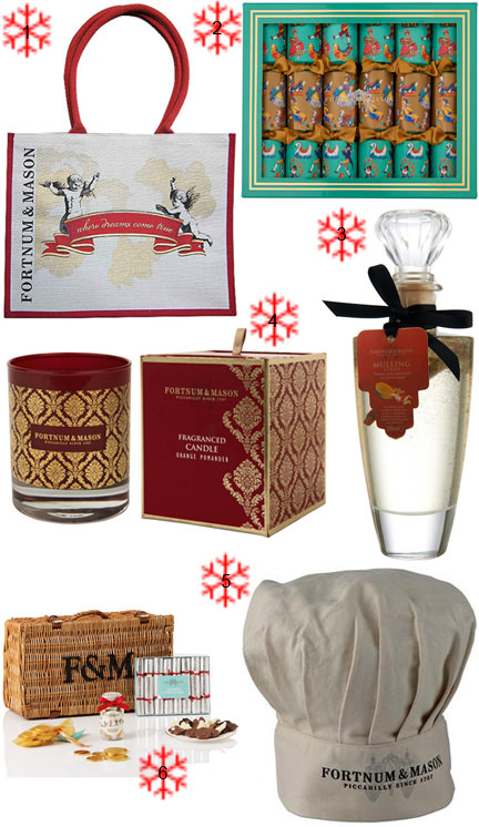 selection of Christmas items from Fortnum and Mason