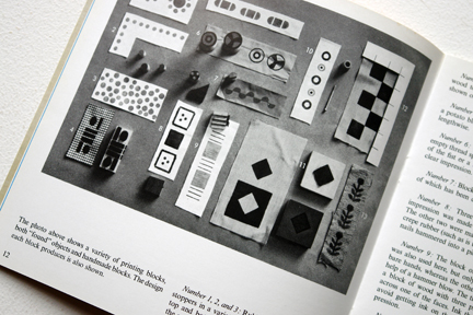 pages from a vintage craft booklet showing how to do block printing