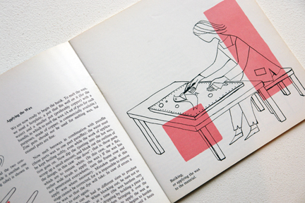 page from a vintage craft booklet showing a cartoon type illustration of a person crafting