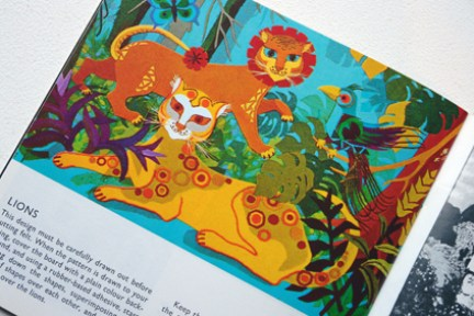 page from a vintage craft booklet showing felt lions