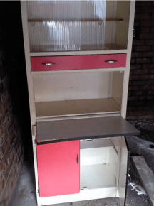 detail of 1960s kitchen cabinet prior to renovation