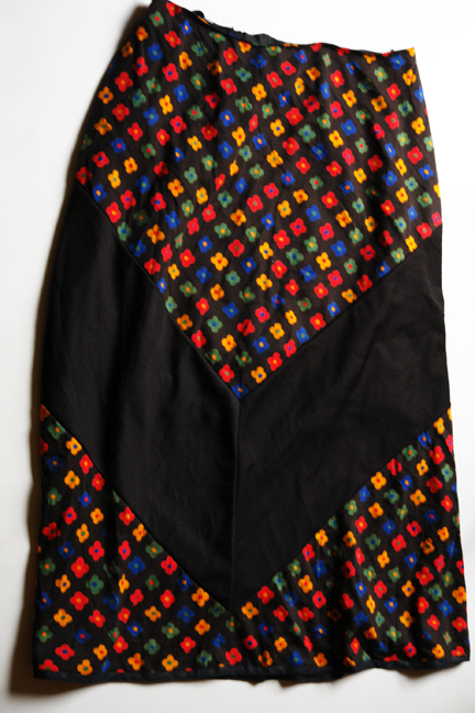 vintage black and daisy patterned skirt