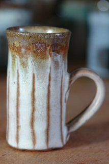 pottery espresso mug hand thrown, glazed and decorated by Damian Keefe