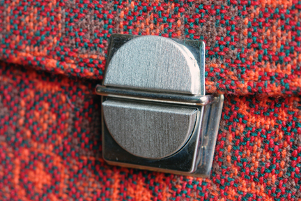 buckle detail from vintage orange Welsh wool tapestry handbag