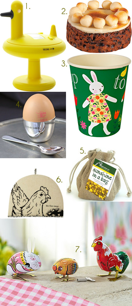 collection of Easter themed homewares and foodstuffs