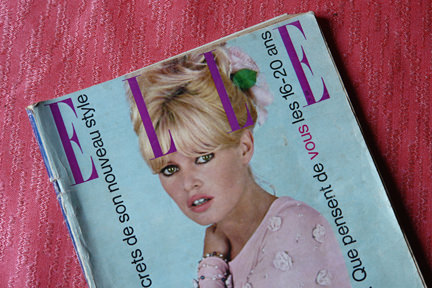 vintage French Elle magazine cover from November 1963 with Brigitte Bardot