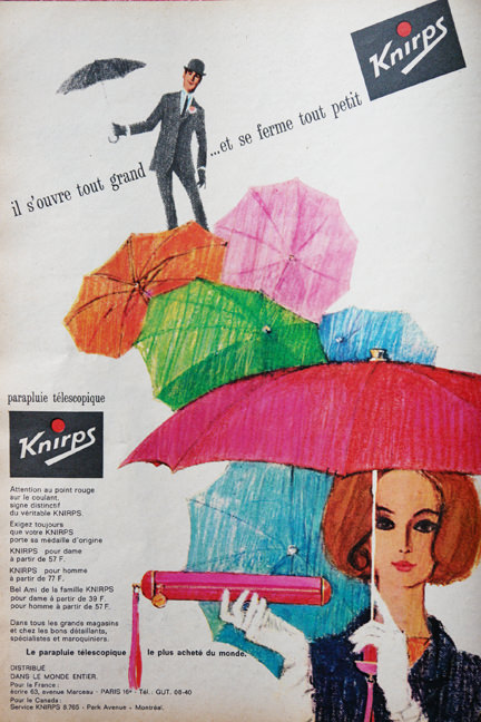 page from vintage French Elle magazine from November 1963 showing a colour ad for Knirps umbrellas