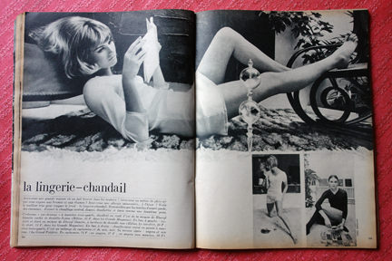 page from vintage French Elle magazine from November 1963 showing an article on thermal lingerie
