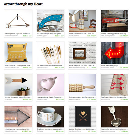 'Arrow through my Heart' Etsy List from H is for Home