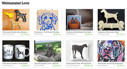 selection of Weimaraner-themed items on Etsy