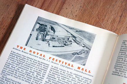 Royal Festival Hall information in original 'Festival of Britain' catalogue