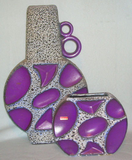 pair of purple vintage Roth Fat Lava vases