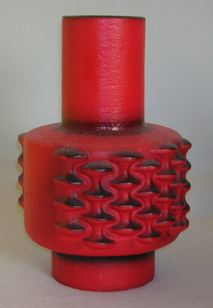 red vintage Fat Lava vase