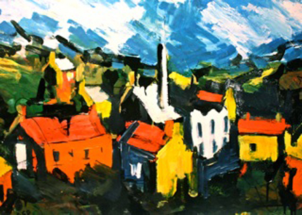 painting of houses by Olivia Pilling
