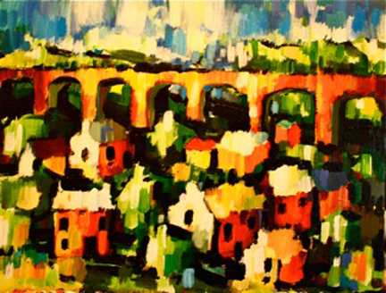 painting of a viaduct by Olivia Pilling