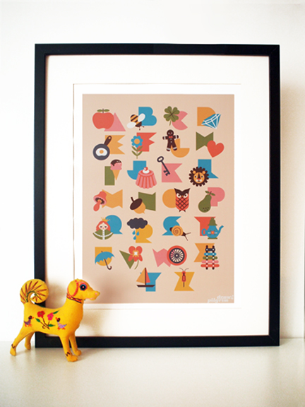 framed alphabet illustration by Pilgrim Lee