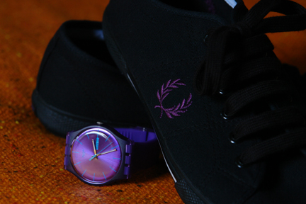 'Purple Rebel' Swatch watch and black & purple Fred Perry plimsolls