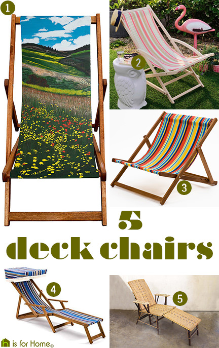 selection of 5 deck chairs