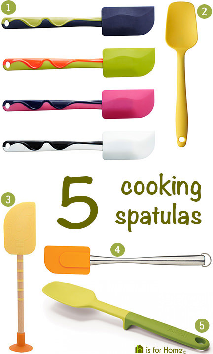 selection of 5 cooking spatulas