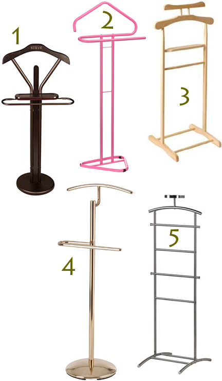 selcetion of 5 wood and metal valet stands