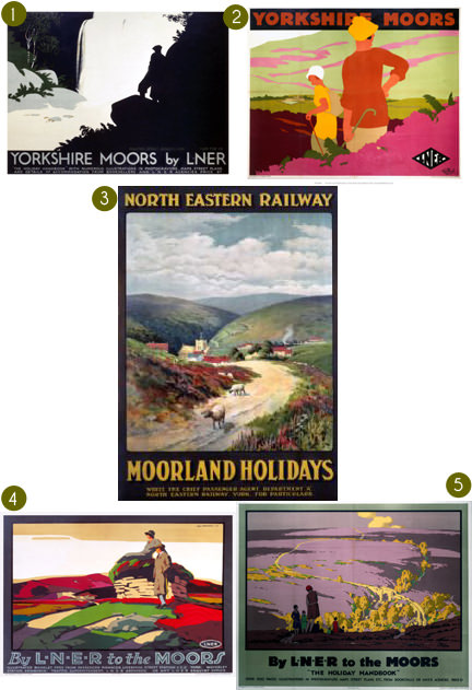 Selection of 5 vintage Yorkshire Moors posters