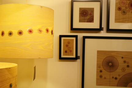 handmade bent plywood and threaded cotton lamps and artwork by Jane Blease Design who exhibited at Great Northern Contemporary Craft Fair 2010
